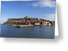 Whitby Harbour With Abbey Ruins Greeting Card