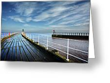 Whitby Piers Greeting Card