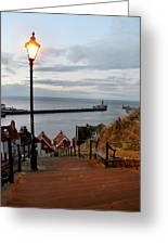 Whitby Steps Blue Hour Greeting Card