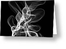 White Abstract Swirl On Black Greeting Card