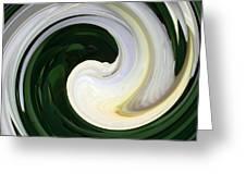 White And Green Swirls Greeting Card