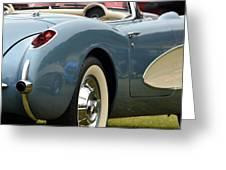 White And Light Blue Corvette Greeting Card