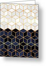 White And Navy Cubes Greeting Card