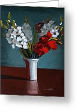 White And Red Gladioli Greeting Card