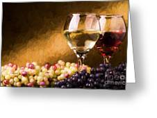 White And Red Wine Greeting Card