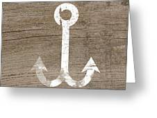 White And Wood Anchor- Art By Linda Woods Greeting Card by Linda Woods