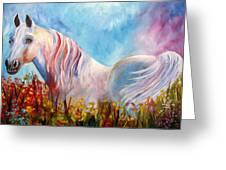 White Arabian Horse Greeting Card
