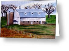 White Barn On A Cloudy Day Greeting Card