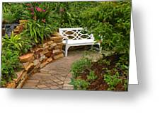 White Bench In The Garden Greeting Card