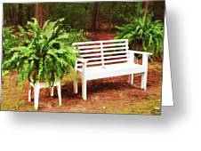 White Bench Sitting In A Beautiful Garden 2 Greeting Card