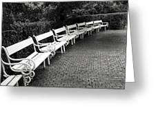 White Benches-  By Linda Wood Woods Greeting Card