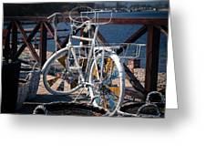 White Bike Greeting Card