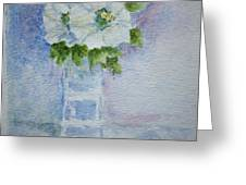 White Blooms In Blue Vase Greeting Card