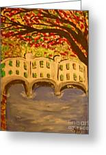 White Bridge In The Woods Greeting Card by Marie Bulger