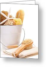 White Bucket Filled With Sponges And Scrub Brushes  Greeting Card