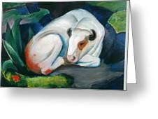 White Bull Resting In The Woods By Franz Marc Greeting Card