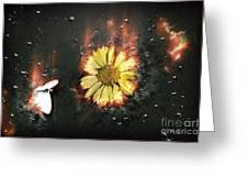 White Butterfly And Yellow Flower Greeting Card