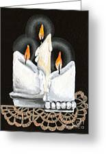 White Candle Trio Greeting Card