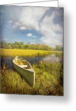 White Canoe Textured Painting Greeting Card