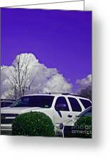 White Car And Clouds Greeting Card