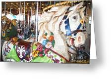 White Carousel Horse Dressed Up Greeting Card