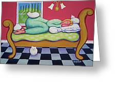 White Cats - Cat Napping Greeting Card