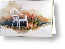 White Chair With Flower Pots Greeting Card
