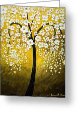 White Cherry Blossom Tree Greeting Card