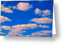White Clouds In Blue Sky Greeting Card