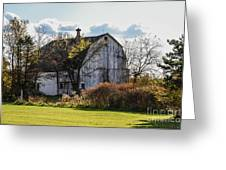White Country Barn Greeting Card
