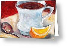 White Cup With Lemon Wedge And Spoon Grace Venditti Montreal Art Greeting Card