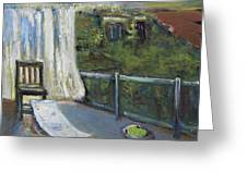 White Curtain View Greeting Card