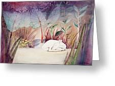 White Doe Dreaming Greeting Card