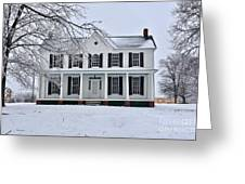 White Farm House During Winter Greeting Card