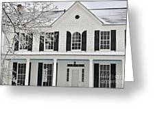 White Farm House In Winter Greeting Card