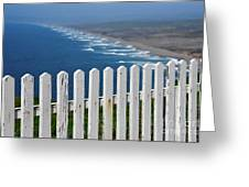 White Fence And Waves Greeting Card