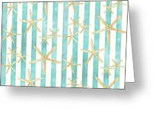 White Finger Starfish Watercolor Stripe Pattern Greeting Card