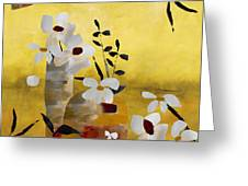 White Floral Collage II Greeting Card