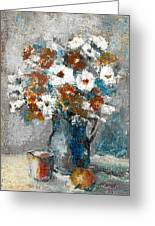 White Flower In Vase And Mug Greeting Card