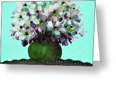 White Flowers In A Vase Greeting Card