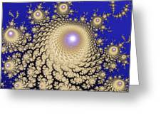 White Gold Opalescent Fractal Swirl Abstraction Greeting Card
