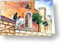 White Horses By The Cathedral In Palma De Mallorca 02 Greeting Card