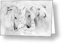 White Horses No 01 Greeting Card