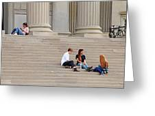 Hanging Out On Steps Greeting Card