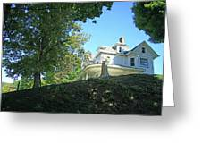 White House With Hillside Shade Greeting Card