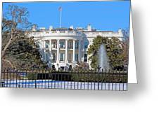 White House South Lawn With Snow Greeting Card