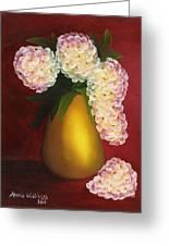 White Hydrangeas In A Golden Vase Greeting Card