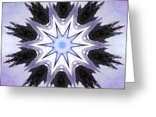 White-lilac-black Flower. Digital Art Greeting Card