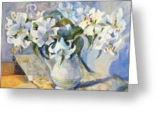 White Lilies In White Jug Greeting Card