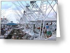 White Marlin Open Docks Greeting Card